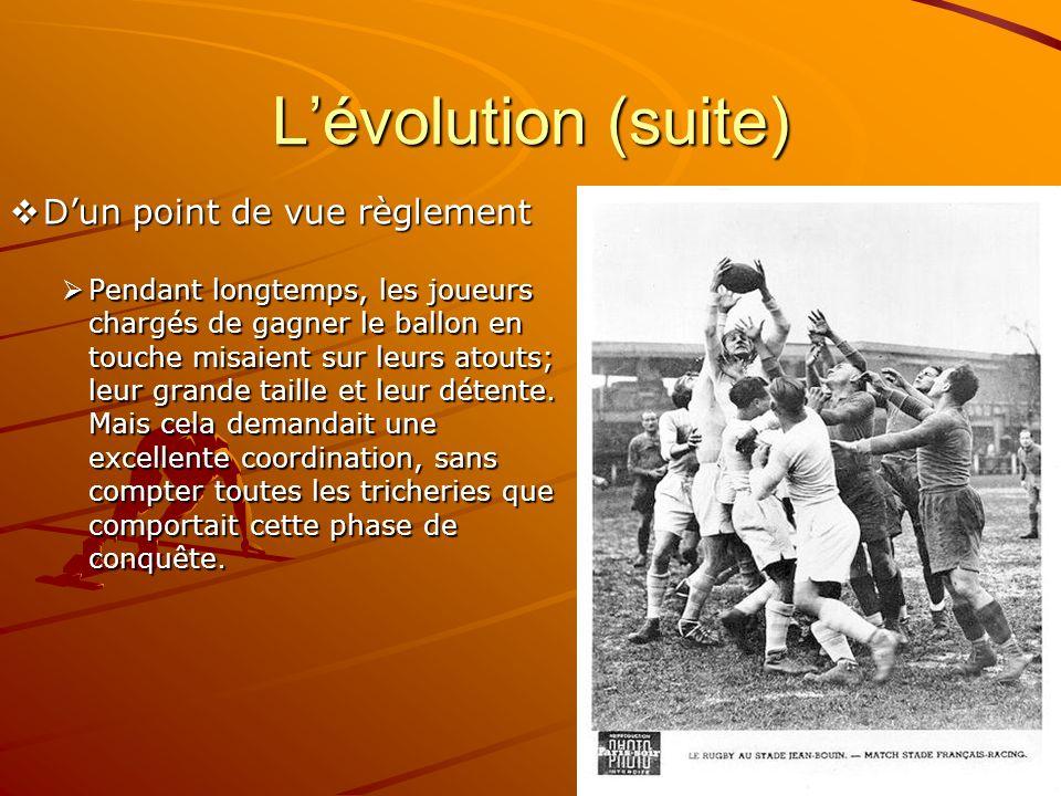 L'évolution (suite) D'un point de vue règlement