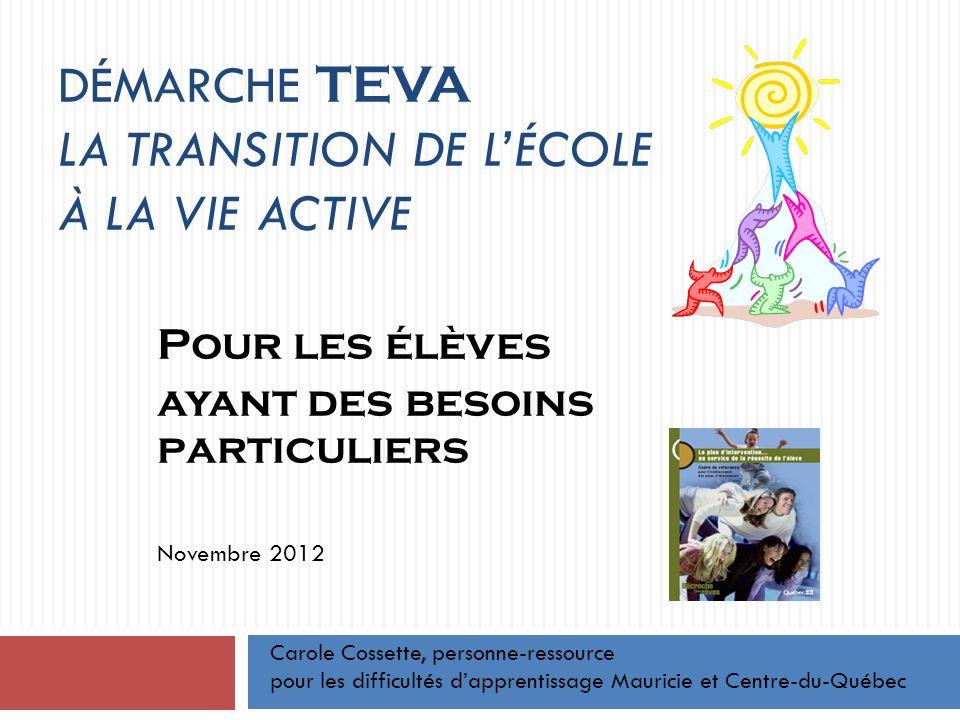 Démarche TEVA La transition de l'école à la vie active