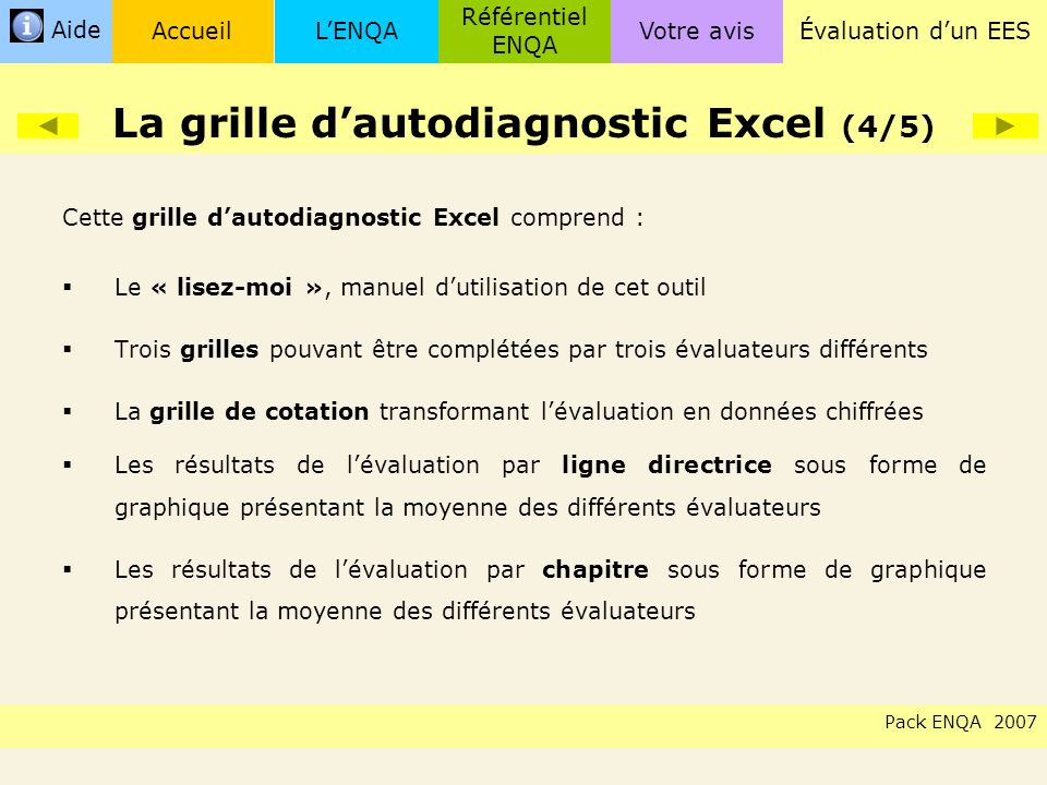 La grille d'autodiagnostic Excel (4/5)