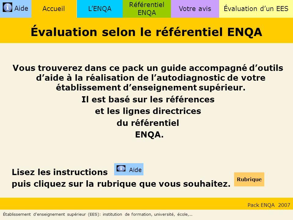 Évaluation selon le référentiel ENQA
