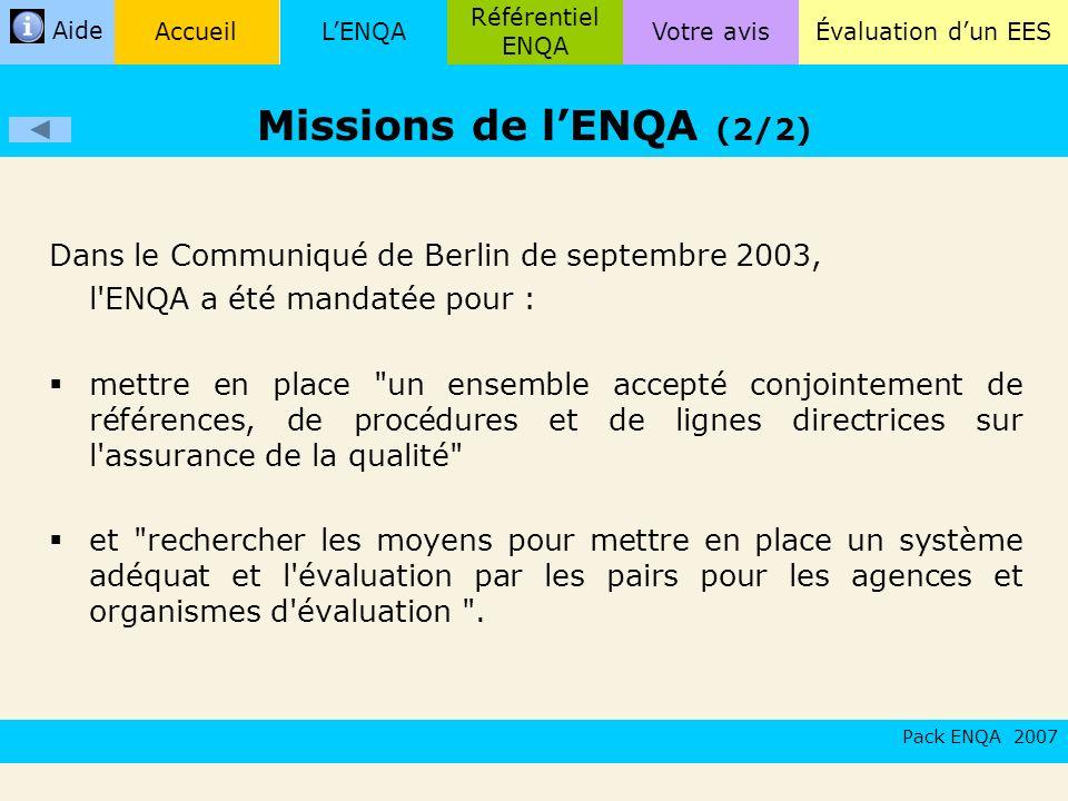 Missions de l'ENQA (2/2) Dans le Communiqué de Berlin de septembre 2003, l ENQA a été mandatée pour :