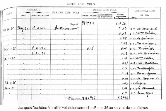 Jacques Duchêne Marullaz vole intensément en Potez 36 au service de ses élèves