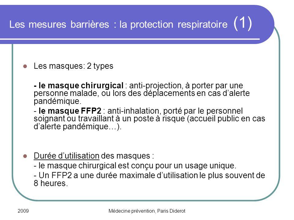 Les mesures barrières : la protection respiratoire (1)