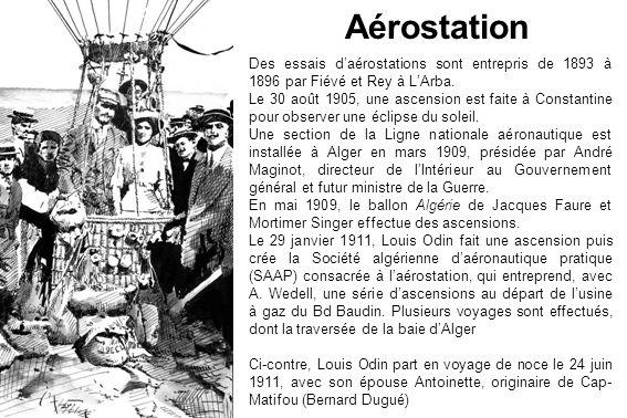 AérostationDes essais d'aérostations sont entrepris de 1893 à 1896 par Fiévé et Rey à L'Arba.