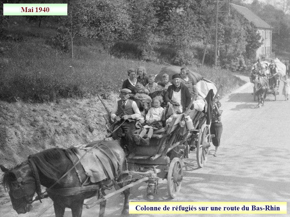Colonne de réfugiés sur une route du Bas-Rhin