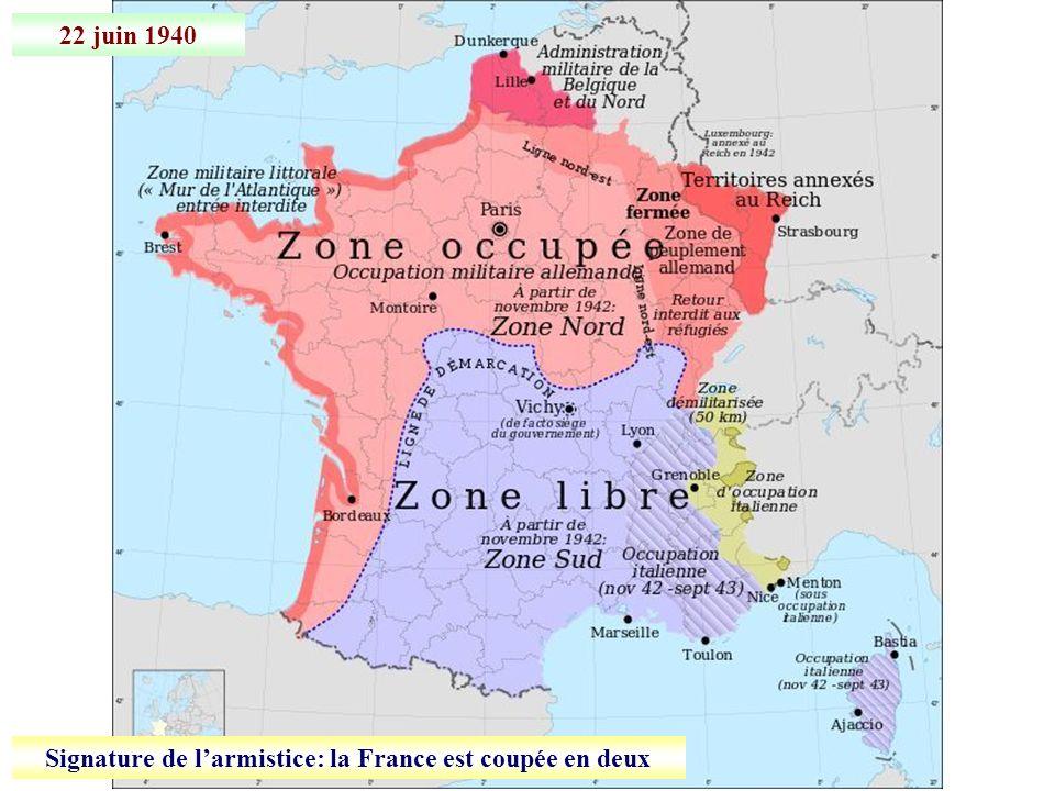 Signature de l'armistice: la France est coupée en deux