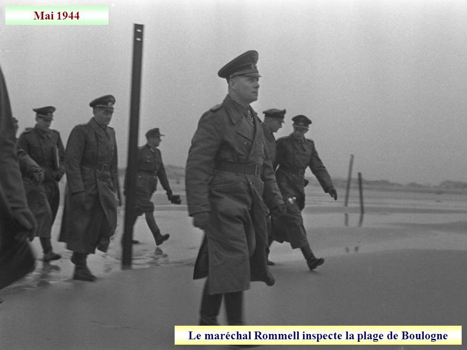 Le maréchal Rommell inspecte la plage de Boulogne