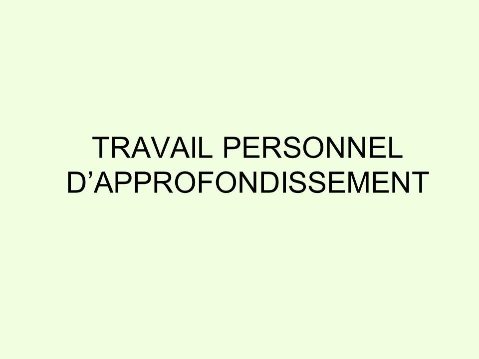 TRAVAIL PERSONNEL D'APPROFONDISSEMENT