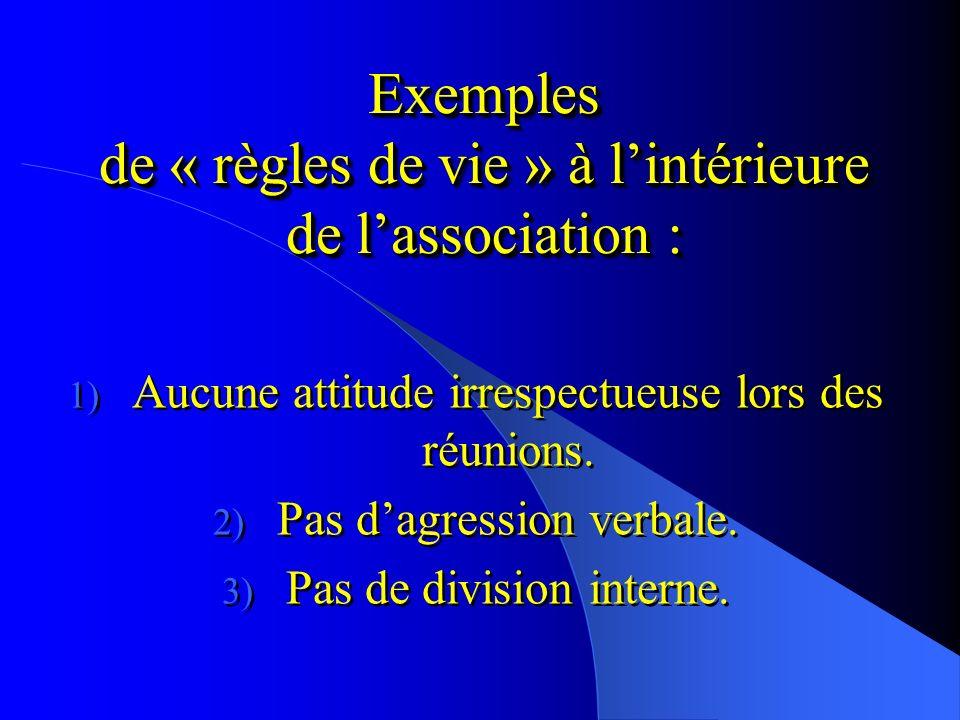 Exemples de « règles de vie » à l'intérieure de l'association :