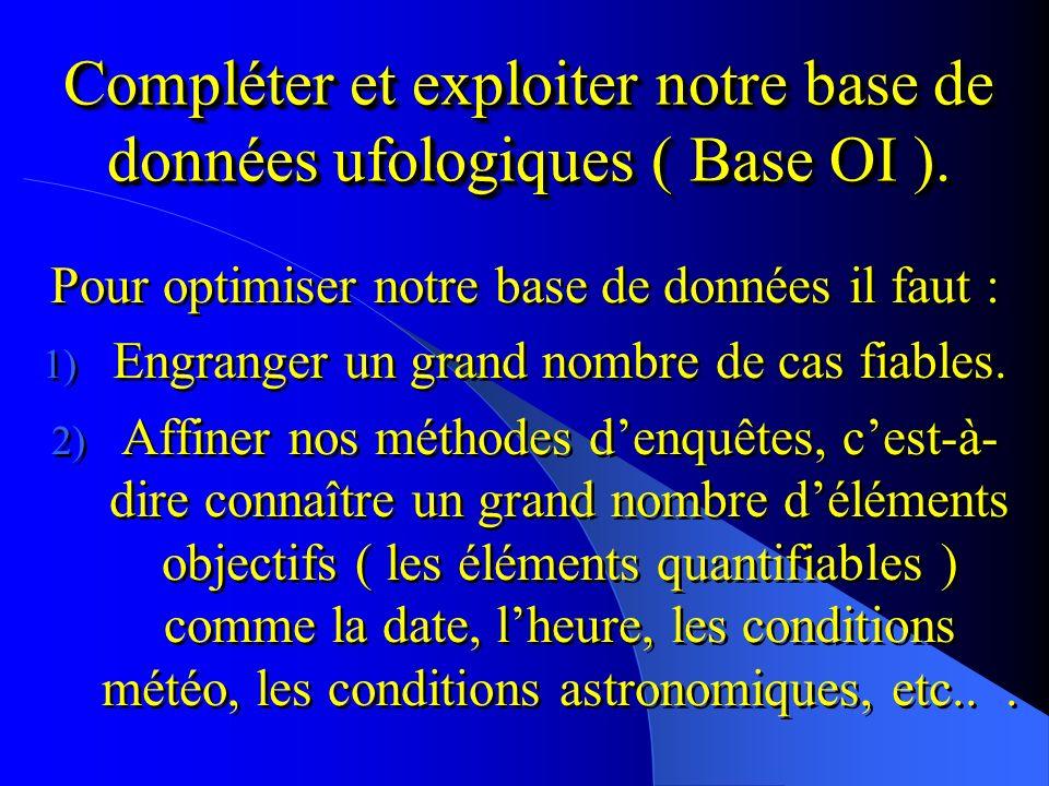 Compléter et exploiter notre base de données ufologiques ( Base OI ).