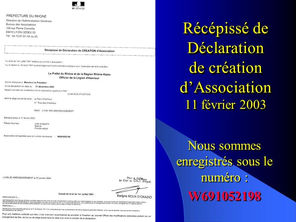 Récépissé de Déclaration de création d'Association 11 février 2003