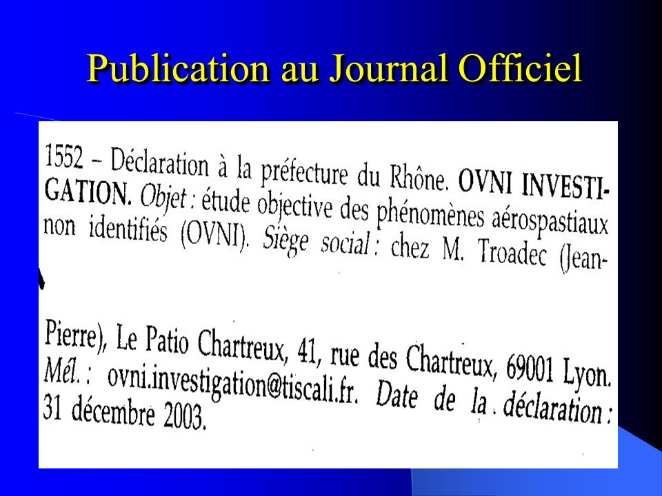 Publication au Journal Officiel