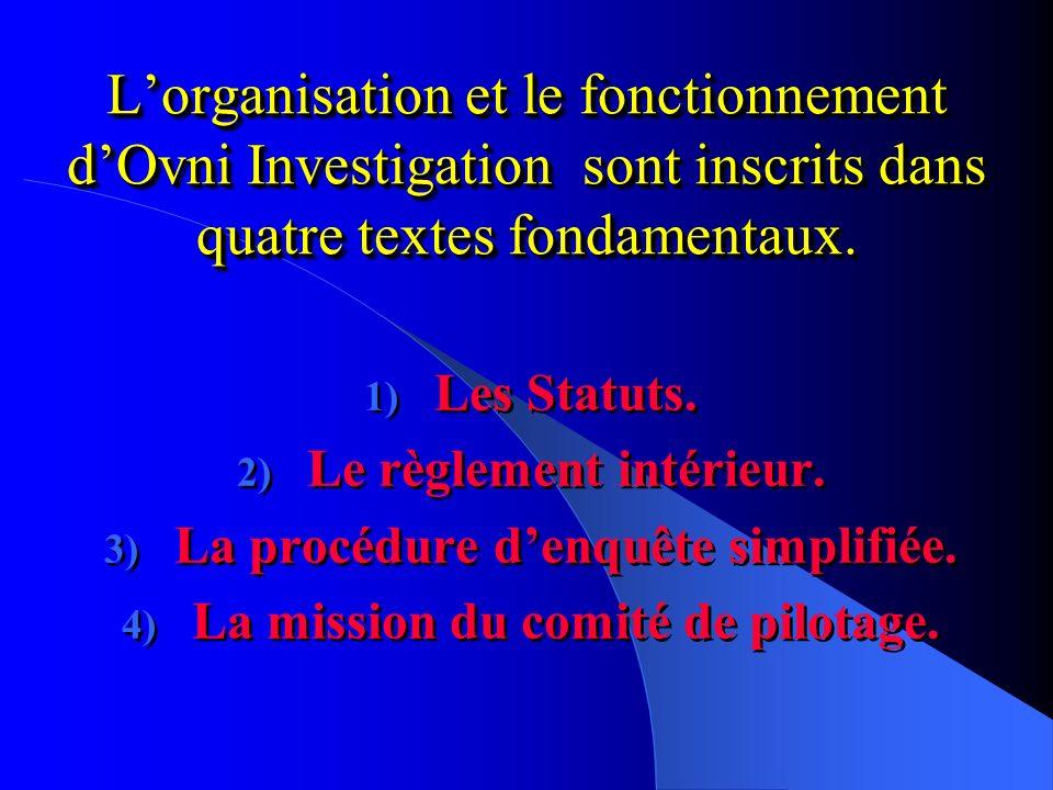 L'organisation et le fonctionnement d'Ovni Investigation sont inscrits dans quatre textes fondamentaux.