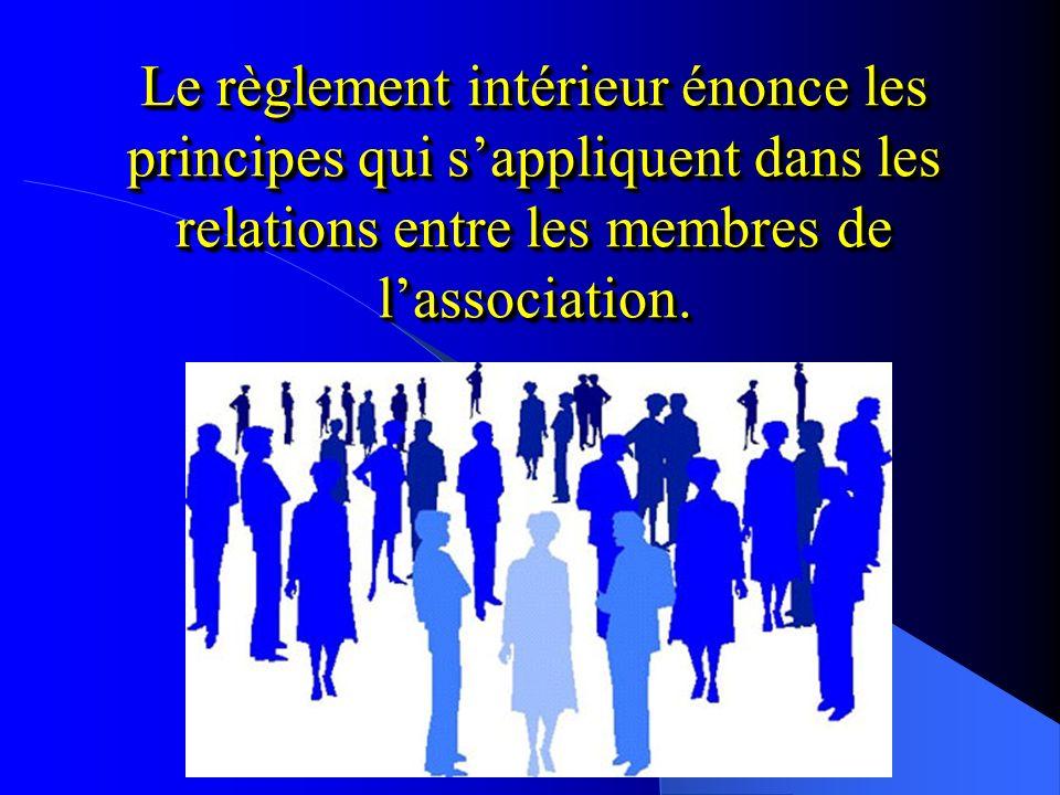 Le règlement intérieur énonce les principes qui s'appliquent dans les relations entre les membres de l'association.
