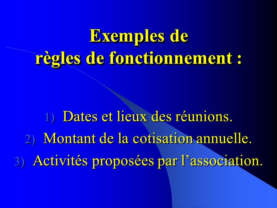Exemples de règles de fonctionnement :