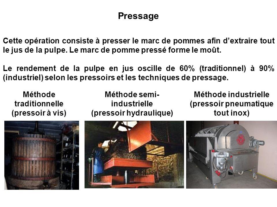 PressageCette opération consiste à presser le marc de pommes afin d'extraire tout le jus de la pulpe. Le marc de pomme pressé forme le moût.