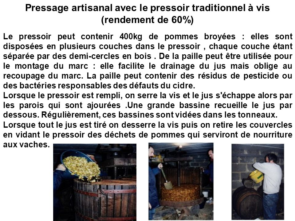 Pressage artisanal avec le pressoir traditionnel à vis (rendement de 60%)