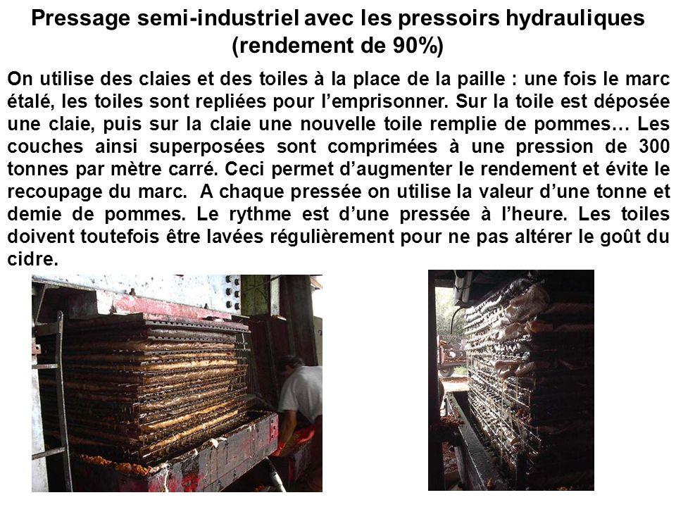 Pressage semi-industriel avec les pressoirs hydrauliques