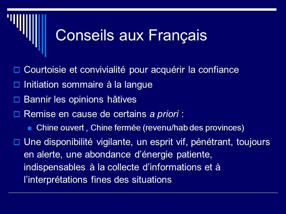 Conseils aux Français Courtoisie et convivialité pour acquérir la confiance. Initiation sommaire à la langue.