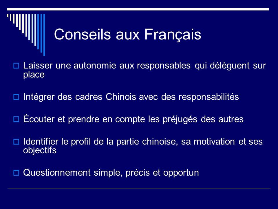 Conseils aux Français Laisser une autonomie aux responsables qui délèguent sur place. Intégrer des cadres Chinois avec des responsabilités.