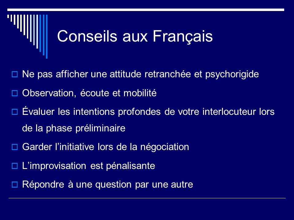 Conseils aux Français Ne pas afficher une attitude retranchée et psychorigide. Observation, écoute et mobilité.