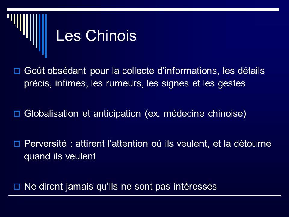 Les Chinois Goût obsédant pour la collecte d'informations, les détails précis, infimes, les rumeurs, les signes et les gestes.