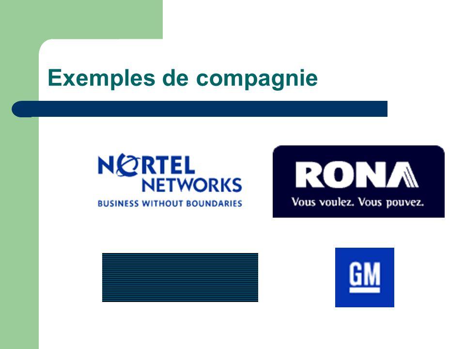 Exemples de compagnie