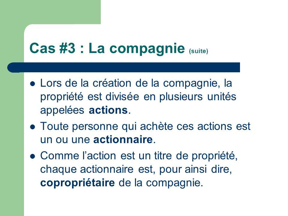 Cas #3 : La compagnie (suite)