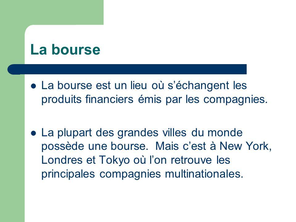 La bourse La bourse est un lieu où s'échangent les produits financiers émis par les compagnies.