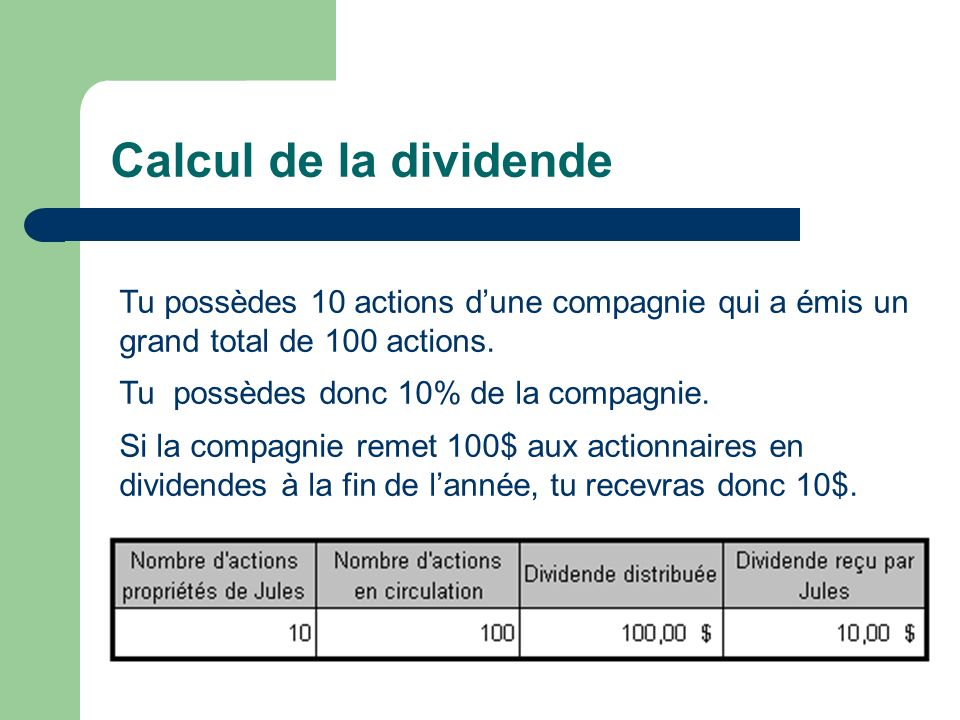 Calcul de la dividende Tu possèdes 10 actions d'une compagnie qui a émis un grand total de 100 actions.