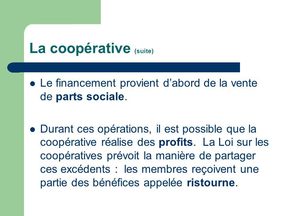 La coopérative (suite)