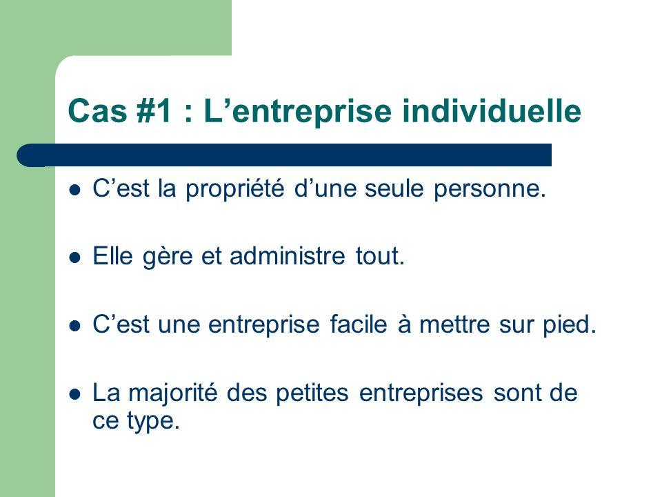 Cas #1 : L'entreprise individuelle