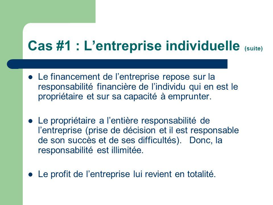 Cas #1 : L'entreprise individuelle (suite)