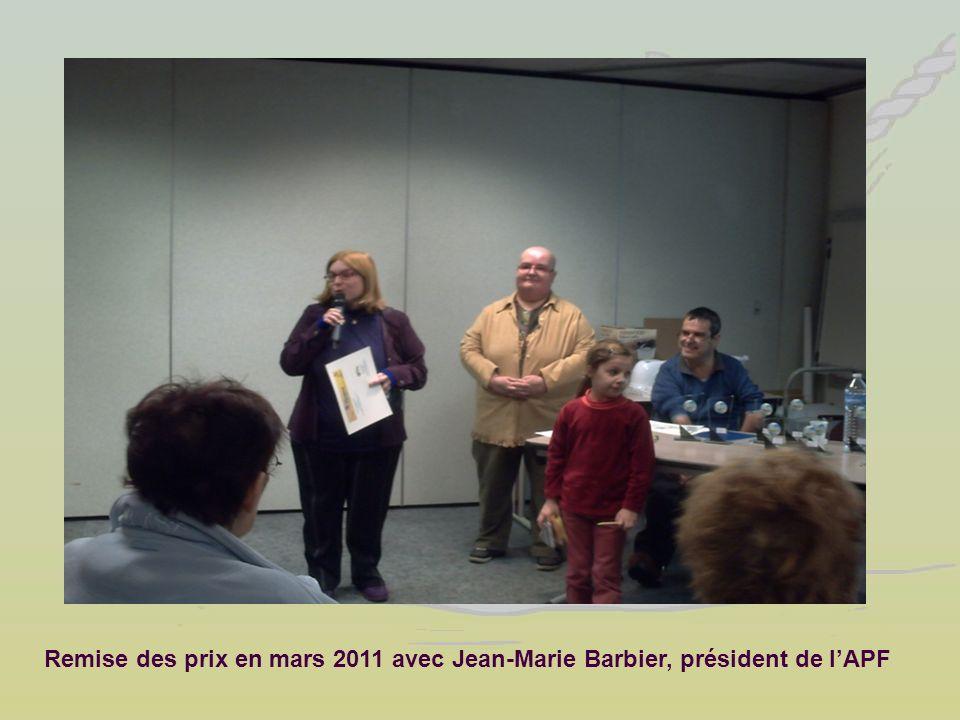 Remise des prix en mars 2011 avec Jean-Marie Barbier, président de l'APF