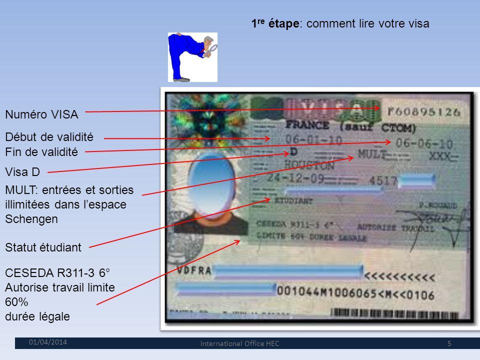 1re étape: comment lire votre visa