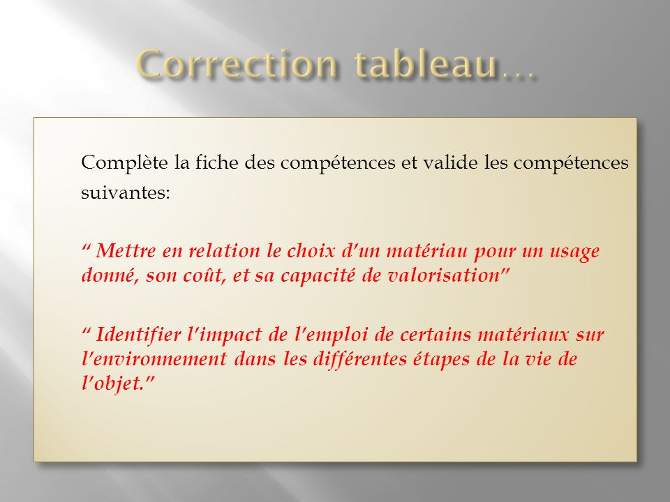 Correction tableau…