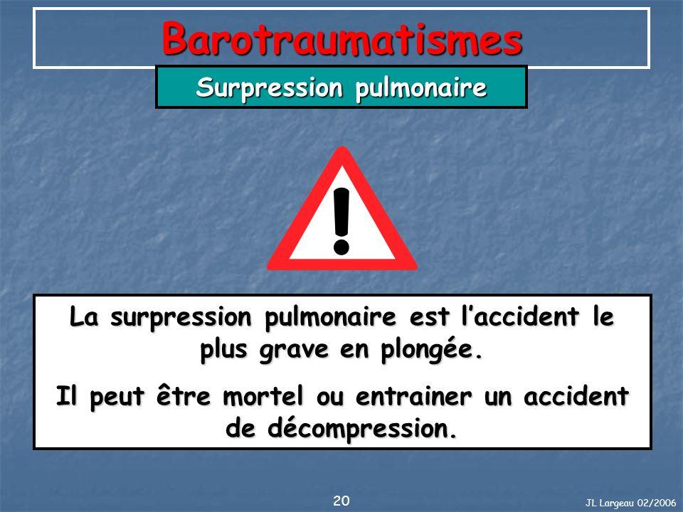 Barotraumatismes Surpression pulmonaire