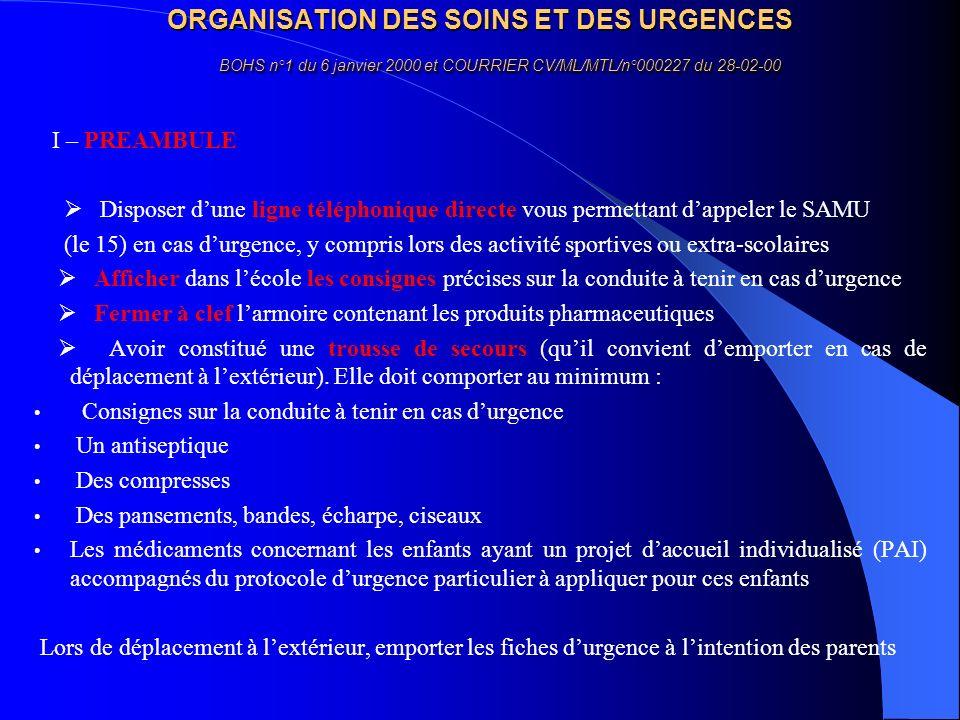 ORGANISATION DES SOINS ET DES URGENCES BOHS n°1 du 6 janvier 2000 et COURRIER CV/ML/MTL/n°000227 du 28-02-00
