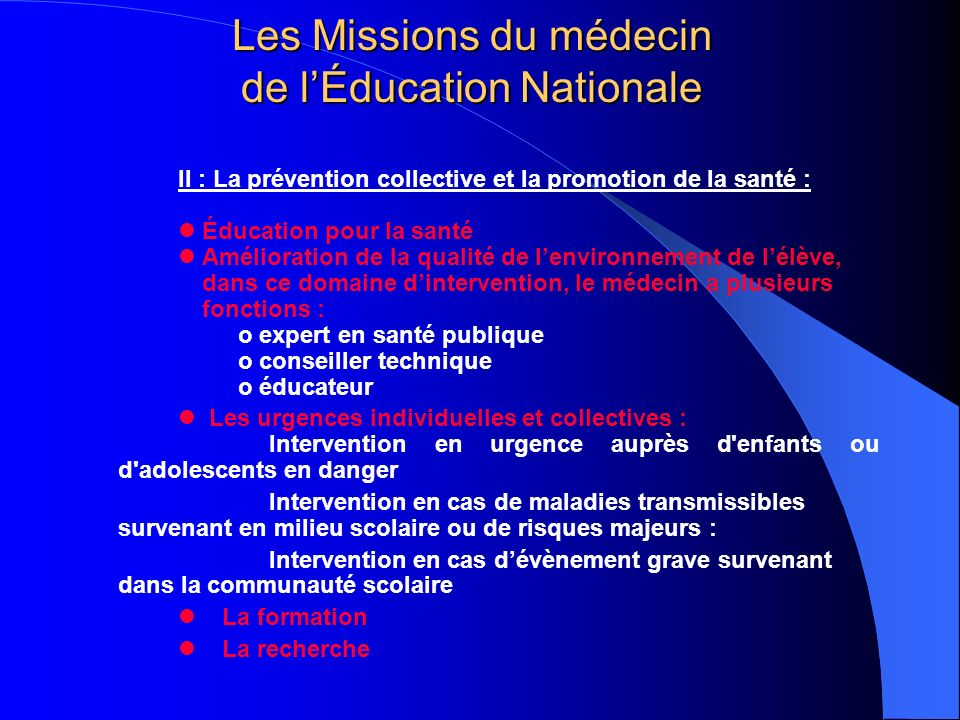 Les Missions du médecin de l'Éducation Nationale