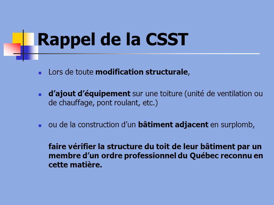 Rappel de la CSST Lors de toute modification structurale,
