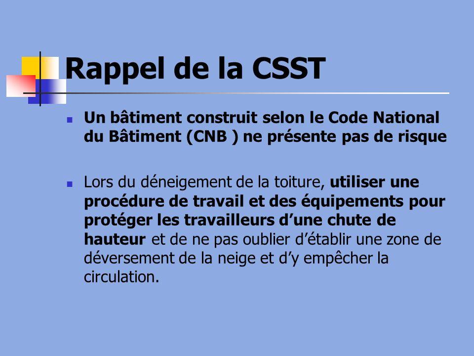 Rappel de la CSST Un bâtiment construit selon le Code National du Bâtiment (CNB ) ne présente pas de risque.