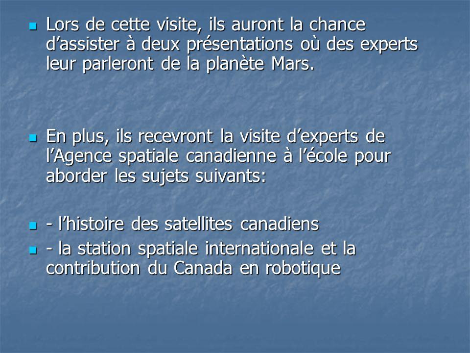 Lors de cette visite, ils auront la chance d'assister à deux présentations où des experts leur parleront de la planète Mars.