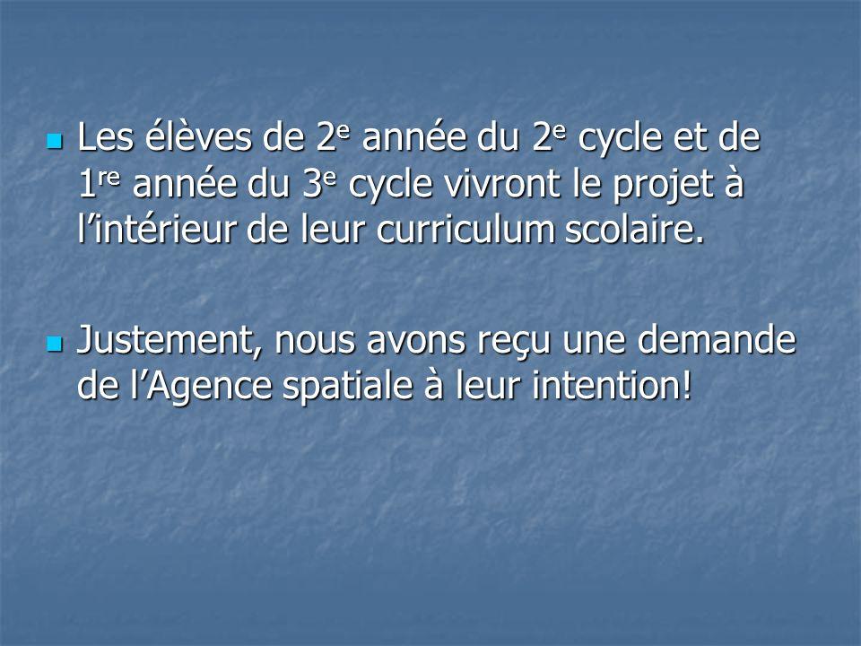 Les élèves de 2e année du 2e cycle et de 1re année du 3e cycle vivront le projet à l'intérieur de leur curriculum scolaire.
