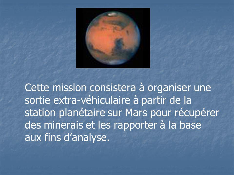 Cette mission consistera à organiser une sortie extra-véhiculaire à partir de la station planétaire sur Mars pour récupérer des minerais et les rapporter à la base aux fins d'analyse.