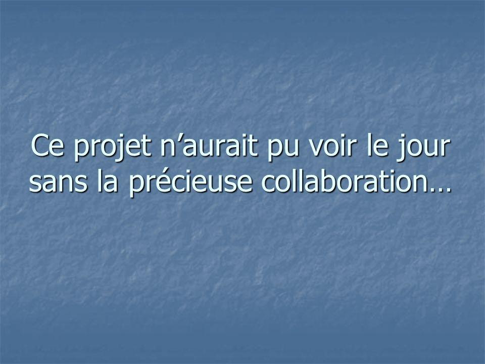 Ce projet n'aurait pu voir le jour sans la précieuse collaboration…