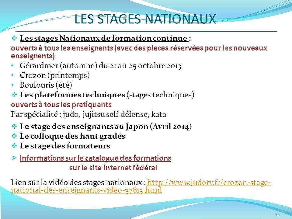 LES STAGES NATIONAUX Les stages Nationaux de formation continue :