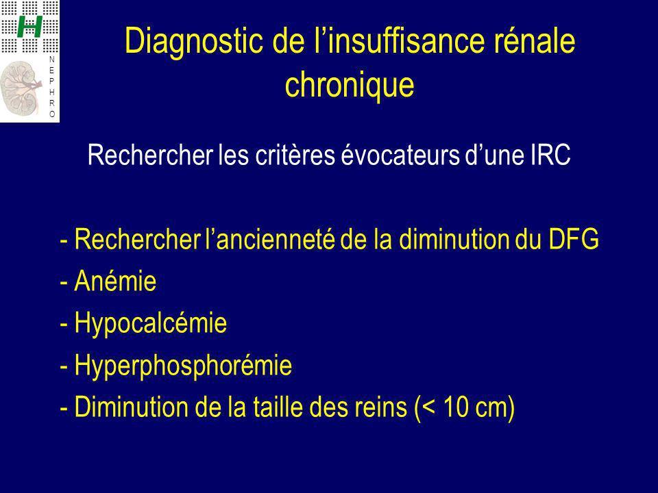 Diagnostic de l'insuffisance rénale chronique