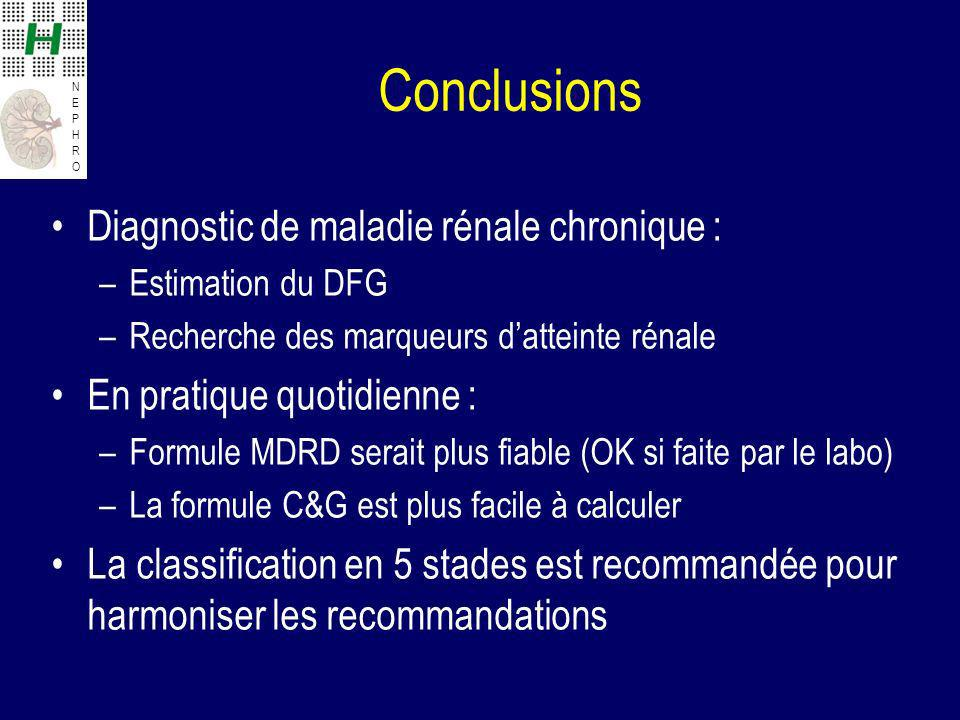 Conclusions Diagnostic de maladie rénale chronique :