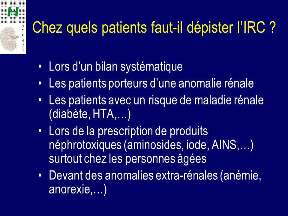 Chez quels patients faut-il dépister l'IRC