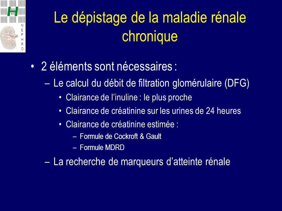Le dépistage de la maladie rénale chronique